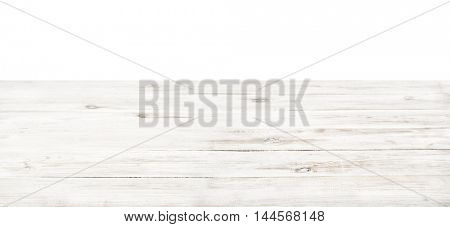 Empty rustic white wood table top on white