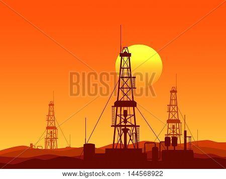 Oil and gas rigs over orange desert sunset vector illustration