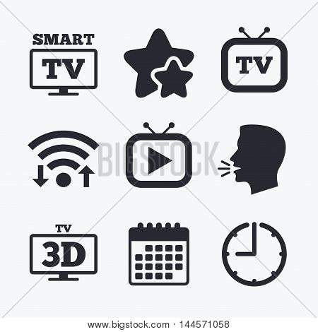 Smart 3D TV mode icon. Widescreen symbol. Retro television and TV table signs. Wifi internet, favorite stars, calendar and clock. Talking head. Vector