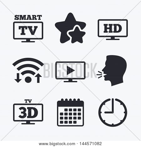 Smart TV mode icon. Widescreen symbol. High-definition resolution. 3D Television sign. Wifi internet, favorite stars, calendar and clock. Talking head. Vector
