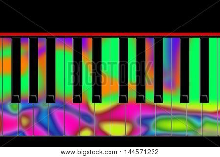 Black and multicolored keys of the piano