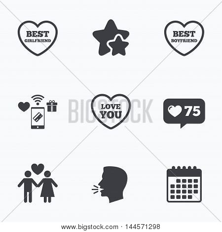 Valentine day love icons. Best girlfriend and boyfriend symbol. Couple lovers sign. Flat talking head, calendar icons. Stars, like counter icons. Vector