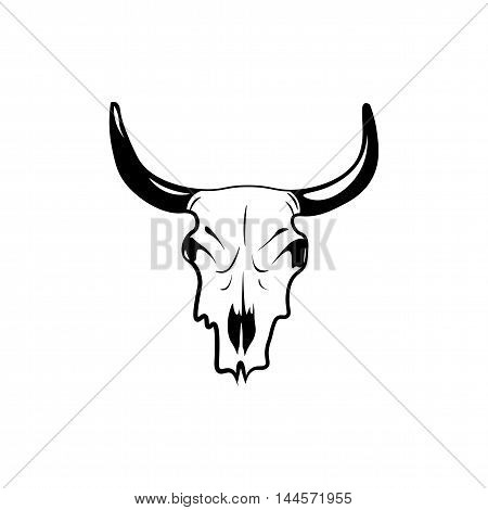 Wild west cow skull with horns. vector clip art illustration isolated
