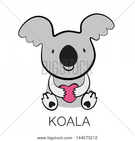 KOALA. Bear with heart in his paws.  Australian marsupial bear. Vector Illustration.