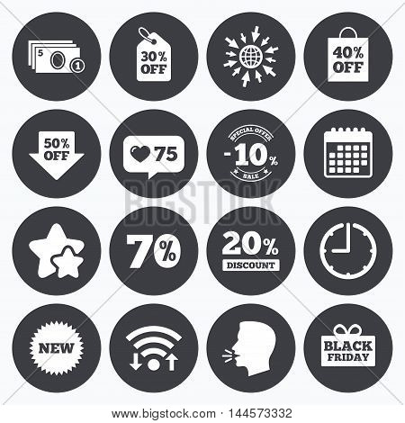 Calendar, wifi and clock symbols. Like counter, stars symbols. Sale discounts icon. Shopping, black friday and cash money signs. 10, 20, 50 and 70 percent off. Special offer symbols. Talking head, go to web symbols. Vector