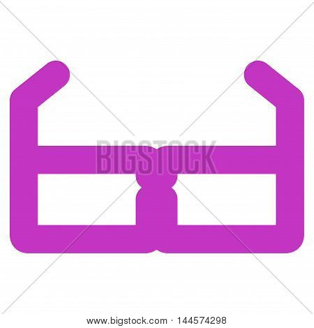 Spectacles vector icon. Style is outline flat icon symbol, violet color, white background.