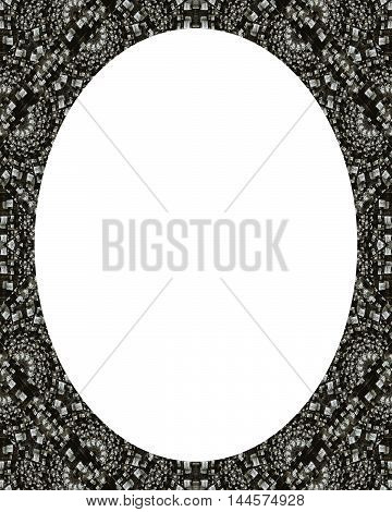 White circle frame background with decorated black and white mosaic design borders