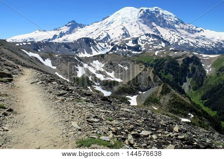 Trail on a rocky slope at Mount Rainier National Park