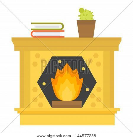 Vector fireplace icon and fireplace design. Fireplace house room warm silhouette. Fireplace flame bright decoration coal furnace. Comfortable warmth fireplace isolated