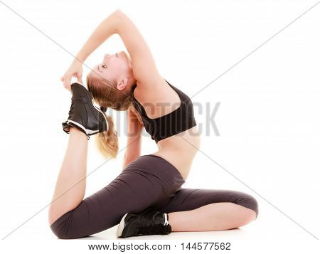 Full length young sporty woman fit fitness sport girl training doing stretching exercise isolated on white background.