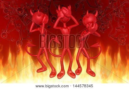 Devil Character Hear No Evil See No Evil Speak No Evil 3D Illustration