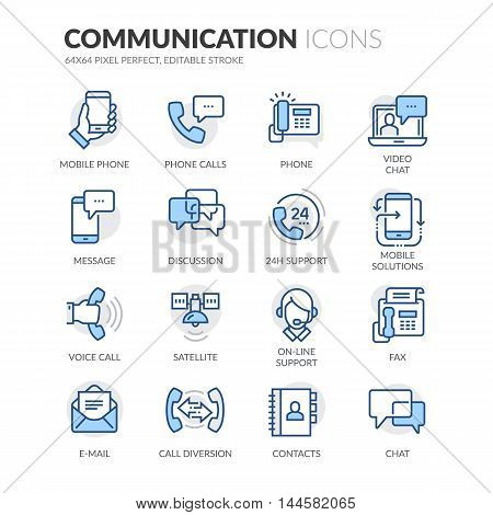 Simple Set of Communication Related Color Vector Line Icons. Contains such Icons as Phone Calls, Video Chat, On-line Support and more. Editable Stroke. 64x64 Pixel Perfect.