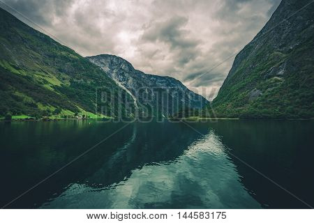 Scenic Fjords Landscape. Norwegian Fjords Scenery. Europe.