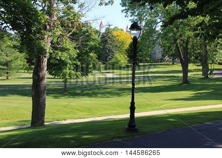 A park in Traverse City, Michigan.  A former a mental hospital can be seen in the background