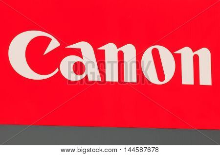 Wallisellen, Switzerland - 28 August, 2016: Canon logotype on the sign at the entrance to Canon Switzerland AG company office. Canon inc. is a multinational corporation manufacturing imaging and optical products.