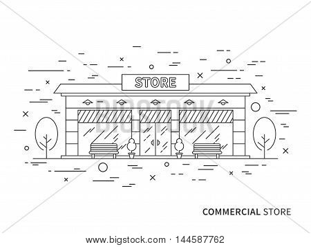 Linear Flat Exterior Landscape Design Illustration Of Modern Designer Store