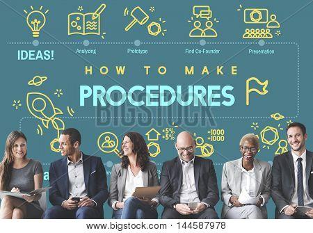 Procedures Action Approach Process Technique Concept poster