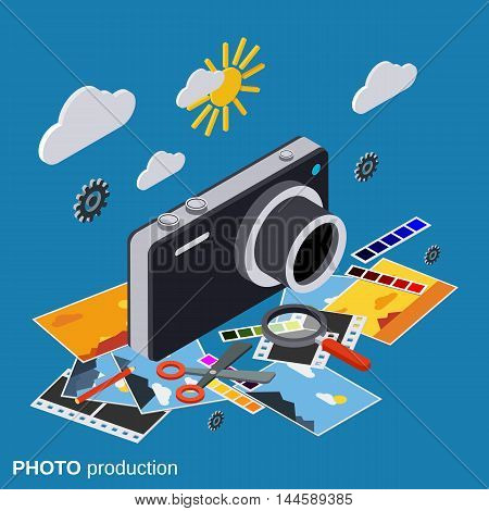 Photo production, montage, editing flat 3d isometric vector concept
