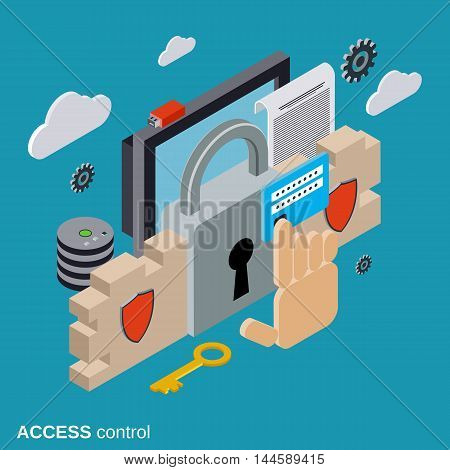 Computer security, data protection, access control flat isometric vector concept