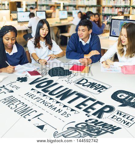 Highschool Students Working Volunteering Concept