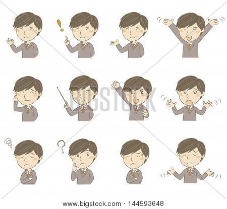 Set of young man in business suit with various poses and emotions