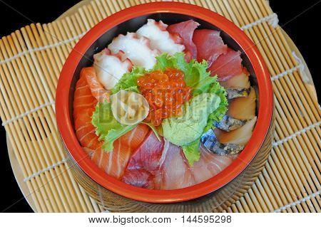 chirashi, rice, bowl, donburi, food, japanese, sashimi, tuna, don, salmon, raw, healthy, meal, fish, wasabi, space, copy, seafood, sushi, hamachi, background, fresh, organic, delicious, asian