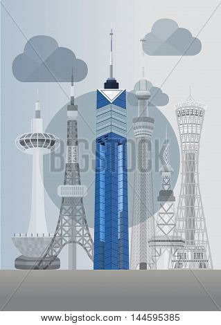 Travel Japan famous tower series vector illustration - Fukuoka Tower poster