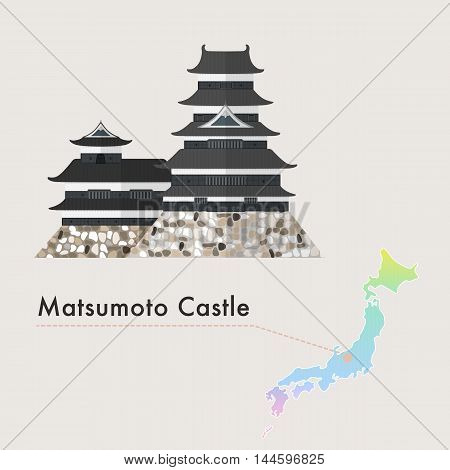 Travel Japan famous castle series vector illustration - Matsumoto Castle