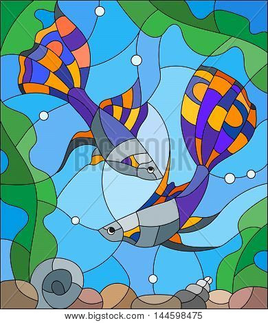Illustration in stained glass style with a pair of guppies on the background of water and algae. Vector.