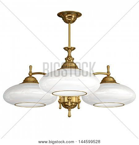 Vintage chandelier isolated on white background. 3d illustration