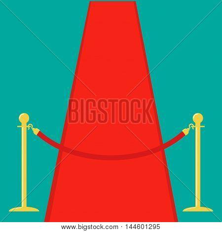 Red carpet Rope barrier golden stanchions turnstile Isolated template Green background. Flat design Vector illustration