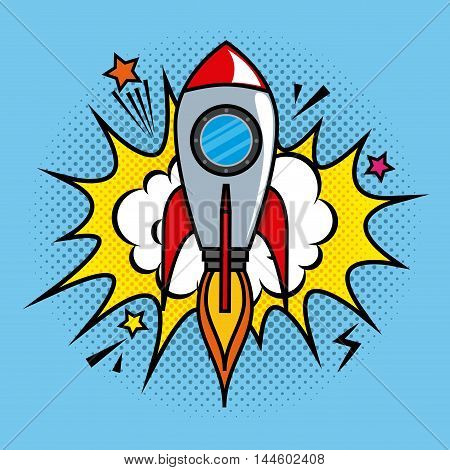 rocket comic pop art vector illustration design