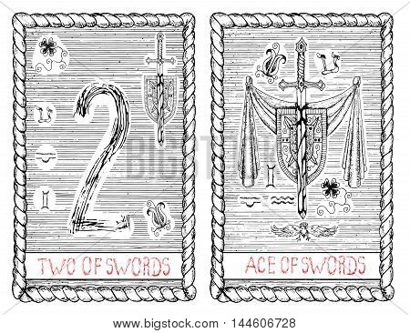 Two and ace of swords. The minor arcana tarot card, vintage hand drawn engraved illustration with mystic symbols.