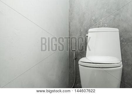 White toilet bowl concrete wall in bathroom interior