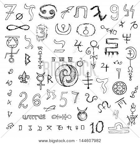 Big graphic set with mystic symbols and numbers. Black and white design hand drawn collection with magic signs.