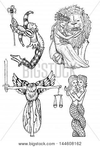 Design set with mystic characters - fool, justice lady, beauty and beast, mermaids. Hand drawn engraved graphic illustration with people.