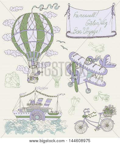Design set with vintage means of transportation and banner. Retro air balloon, plane, bicycle and steamship. Hand drawn vector illustration on travel theme