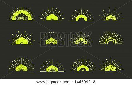 Retro Sun Burst Shapes. Vintage Logo, Labels, Badges. Vector Design Elements Isolated. Minimal Gold