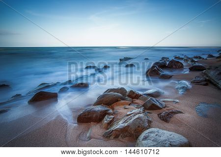 Long exposure of sea and rocks. long exposure