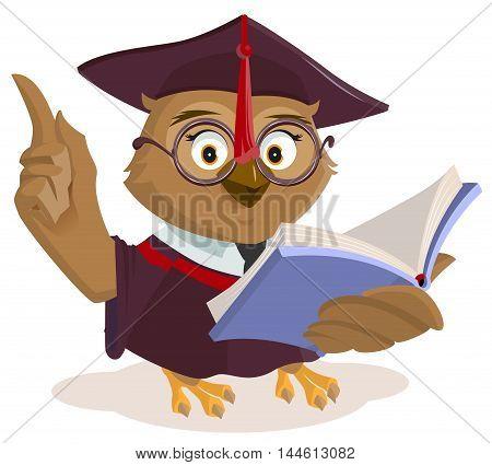 Owl teacher reading book. Isolated on white vector cartoon illustration