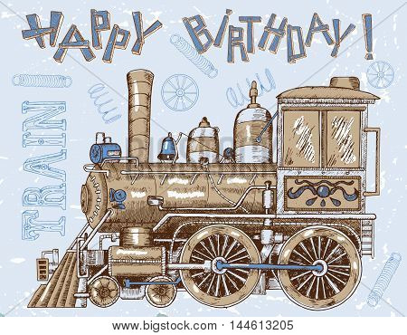 Vintage happy birthday card with retro steam train and letters for boys. Line art painted illustration with hand drawn design elements, vintage travel and transportation theme.