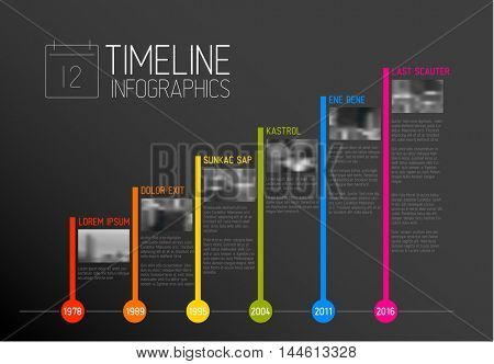 Vector colorful Infographic typographic timeline report template with the biggest milestones, photos, years and description - dark version
