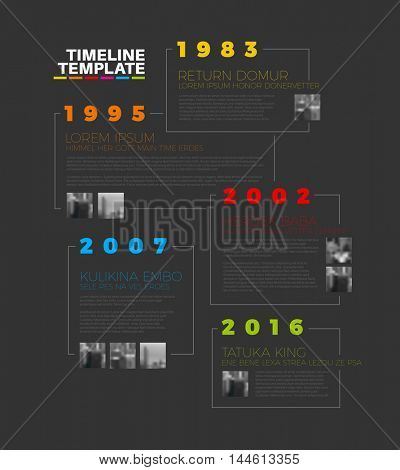 Vector Infographic typographic timeline report template with the biggest milestones, photos, years and description - dark version