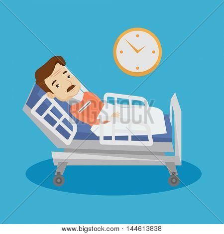 An adult man wearing cervical collar and suffering from neck pain. Patient with injured neck lying in bed. Man with neck brace. Vector flat design illustration. Square layout.