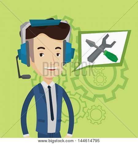 Young cheerful operator of technical support wearing headphone set. Friendly technical support operator and speech square with screwdriver and wrench. Vector flat design illustration. Square layout.