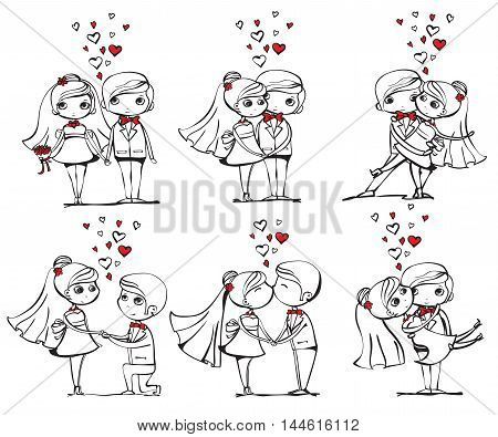 Vector illustrations of wedding couple for invitation, greeting card design, t-shirt print, inspiration poster.
