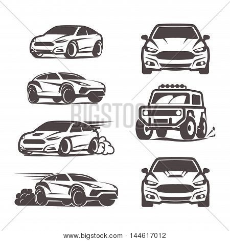 Car Icons Set Sedan Suv 4X4 Sport