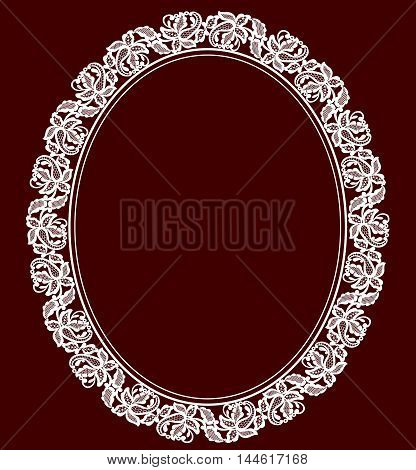 White lace lace frame on a maroon background