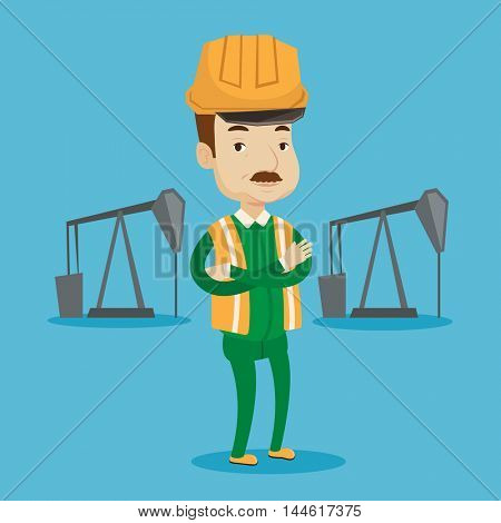 An adult oil worker in uniform and helmet. Confident oil worker standing with crossed arms. An oil worker standing on a background of pump jack. Vector flat design illustration. Square layout.