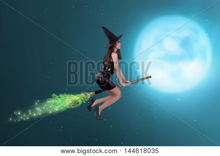 Pretty Asian Witch Woman Flying On The Sky